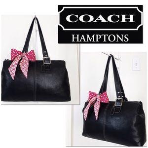 Coach Hamptons Large Black Leather Shoulder Bag